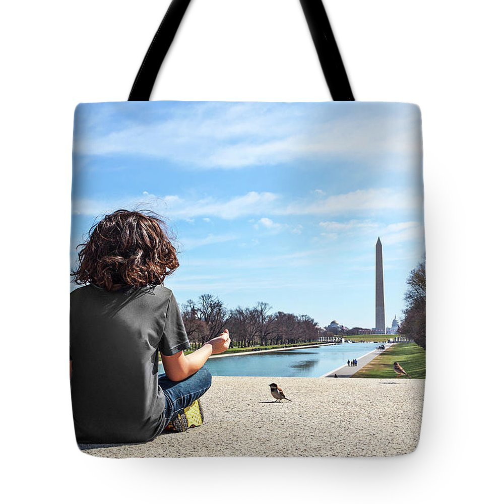 Washington Tote Bag featuring the photograph Serenity On The National Mall by Marc Henderson