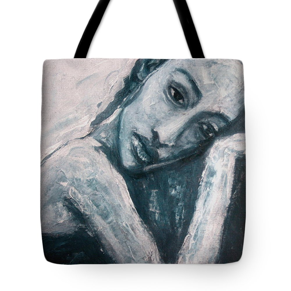 Portrait Tote Bag featuring the painting Serenity Prayer by Jarmo Korhonen aka Jarko