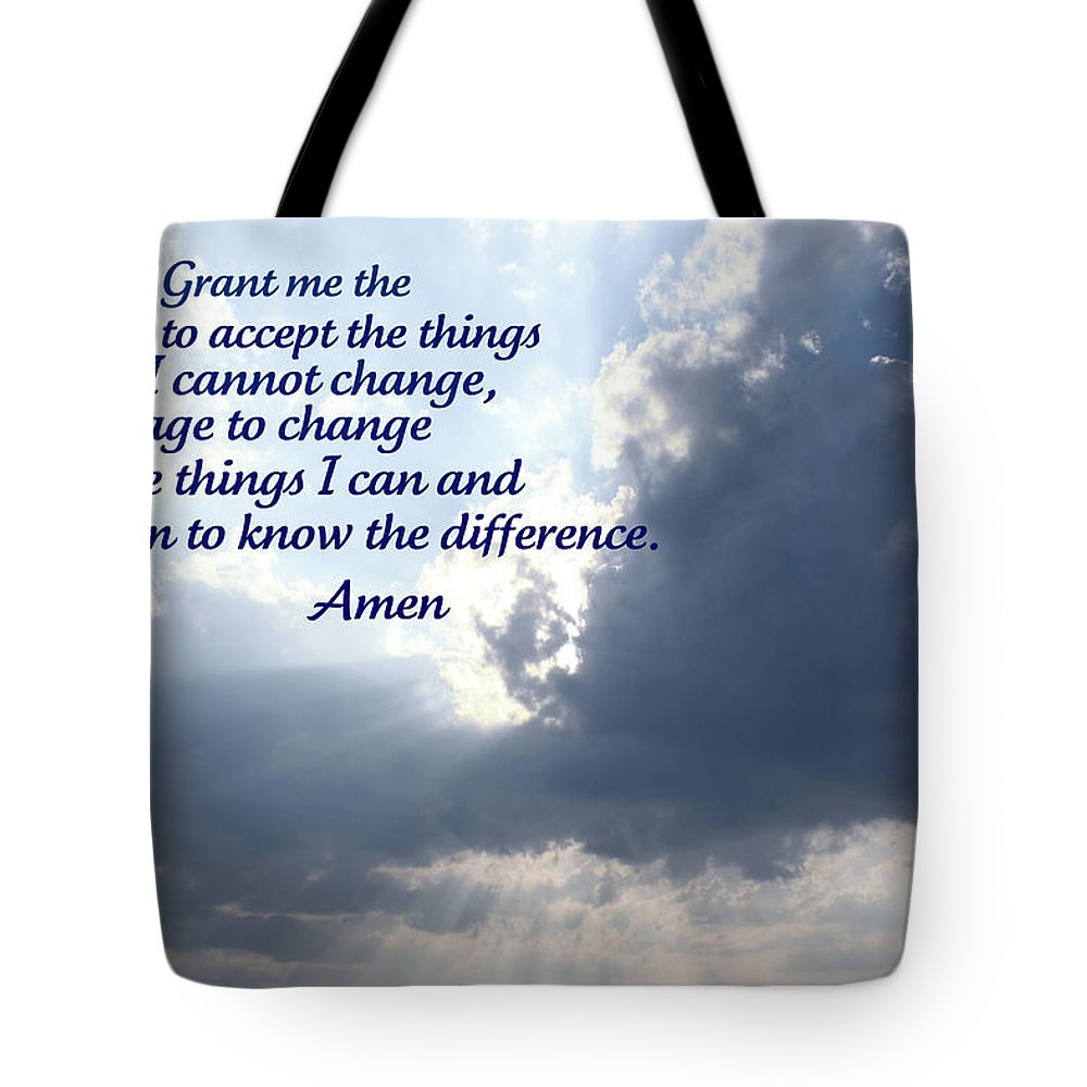 Serenity Tote Bag featuring the photograph Serenity Prayer by Tina Meador