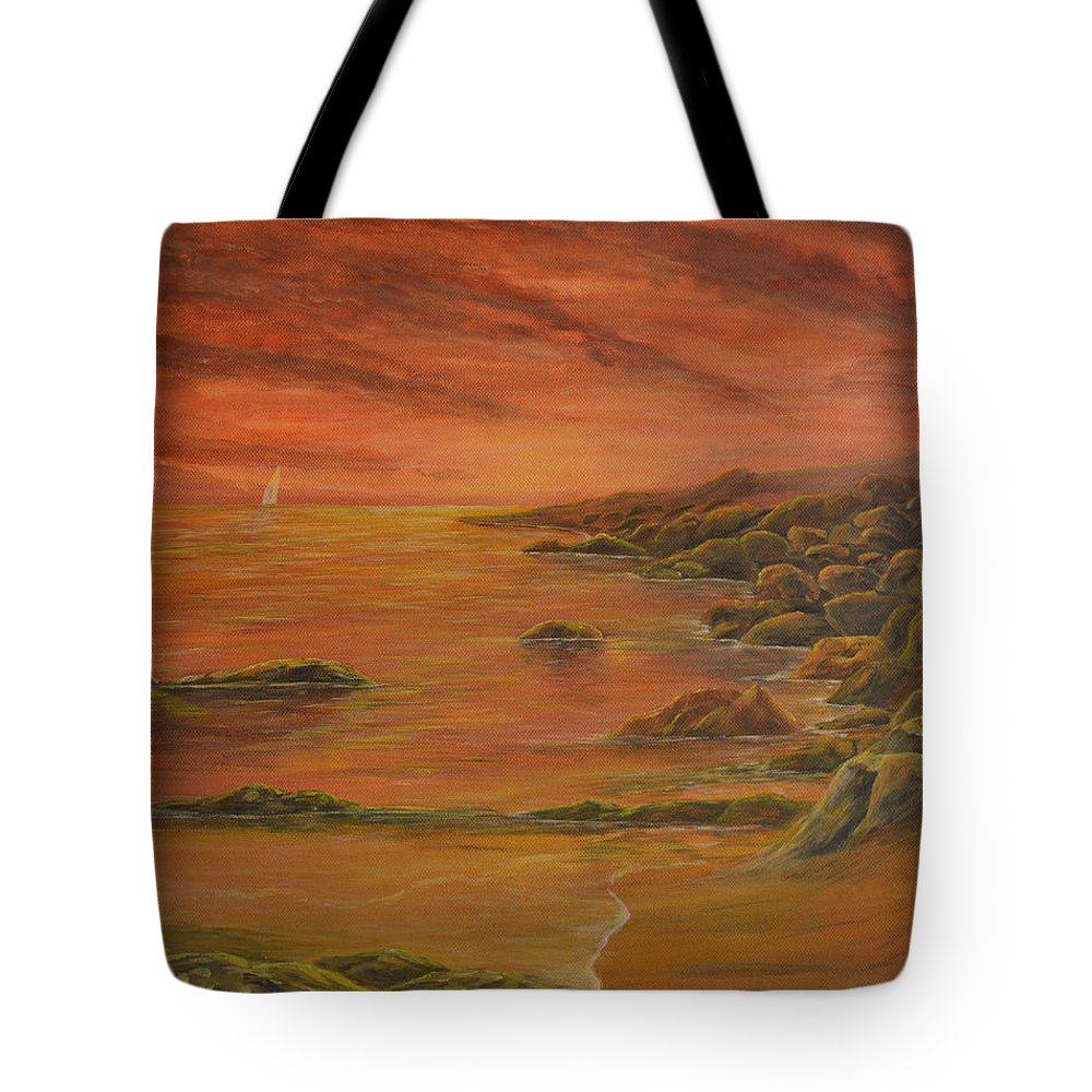 Landscape Tote Bag featuring the painting Serenity by Serdar Akkir