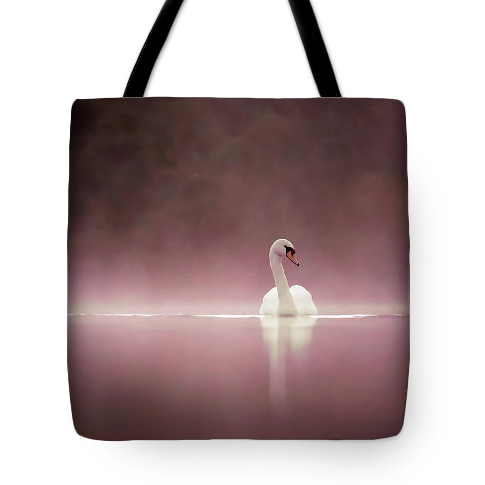 Mute Swan Tote Bag featuring the photograph Serenity - Swan On A Foggy Sunset by Roeselien Raimond
