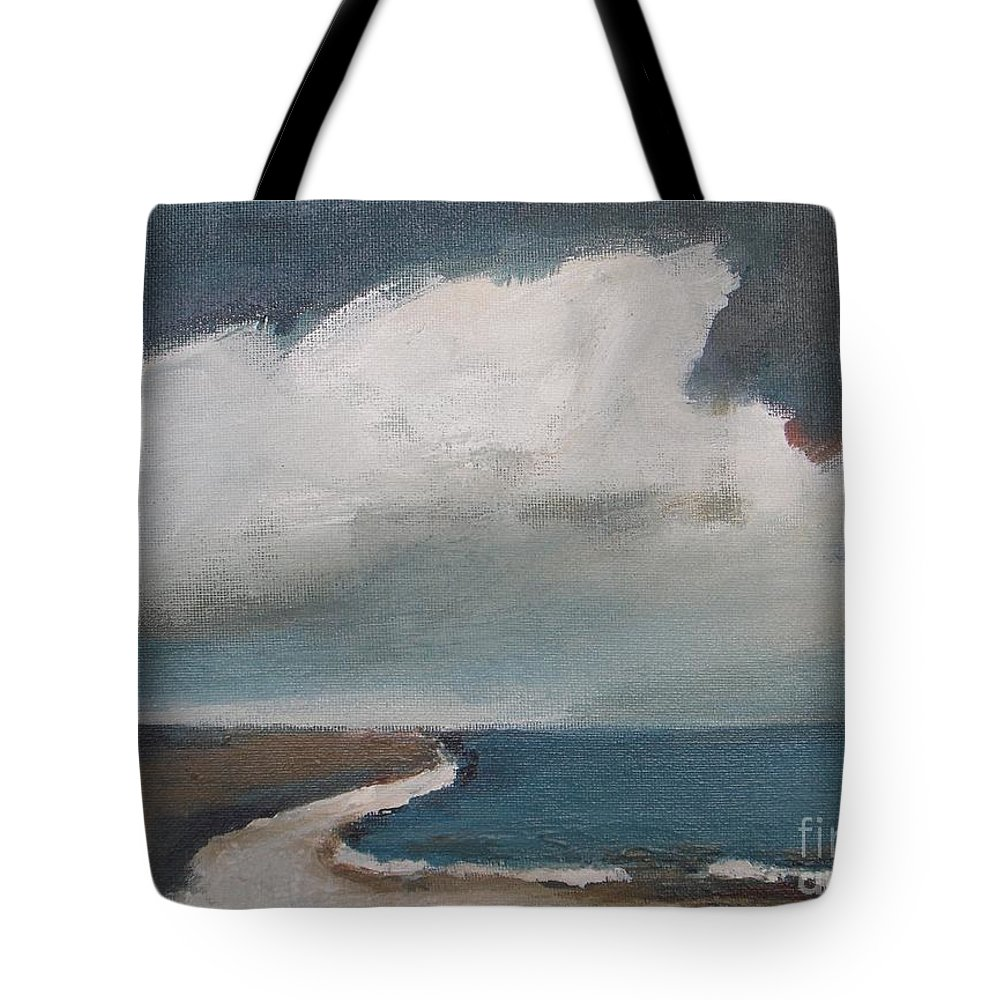 Seascape Tote Bag featuring the painting Serenity Under Clouds by Vesna Antic