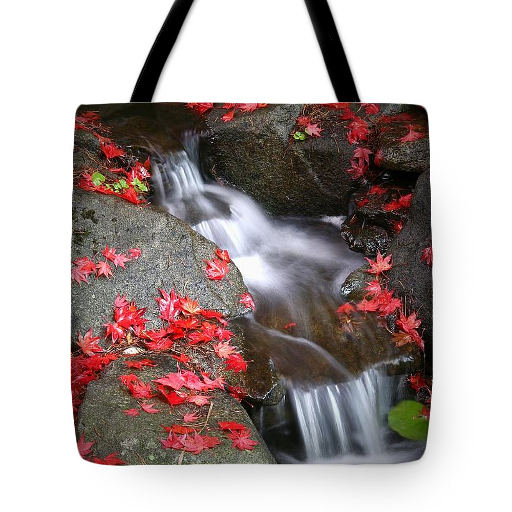 Autumn Stream Serene Tranquil Leaves Red Tote Bag featuring the photograph Serenity by Winston Rockwell