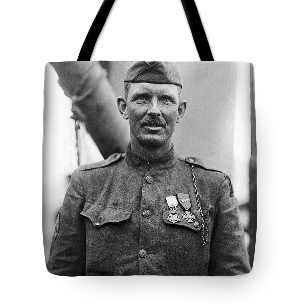 Alvin York Tote Bag featuring the photograph Sergeant York - World War I Portrait by War Is Hell Store