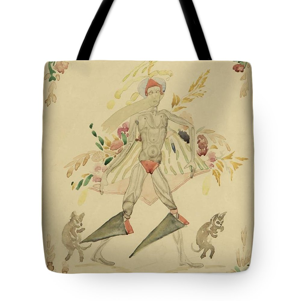Man Tote Bag featuring the painting Sergei Vasilievich Chekhonin Russian 1878-1936 Character From An Eastern Fairytale by Artistic Panda