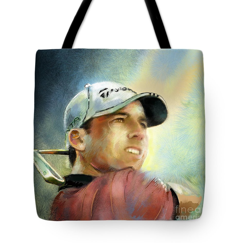 Golf Painting Golfart Castello Masters Spian Sport Tote Bag featuring the painting Sergio Garcia In The Castello Masters by Miki De Goodaboom