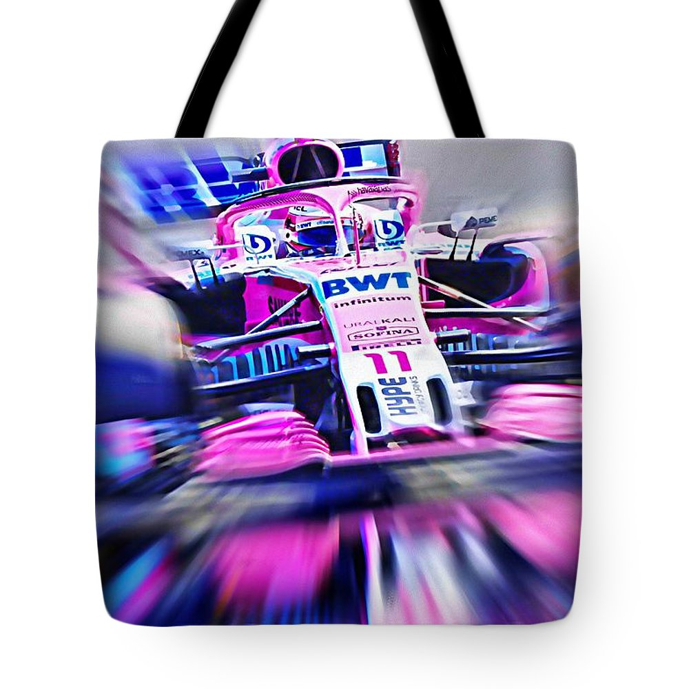 Force India Tote Bag featuring the digital art Sergio Perez - Formula One 2018 by Jean-Louis Glineur alias DeVerviers