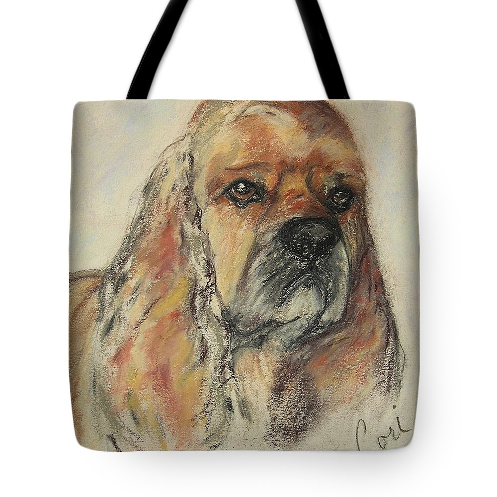 Dog Tote Bag featuring the drawing Serious Intent by Cori Solomon
