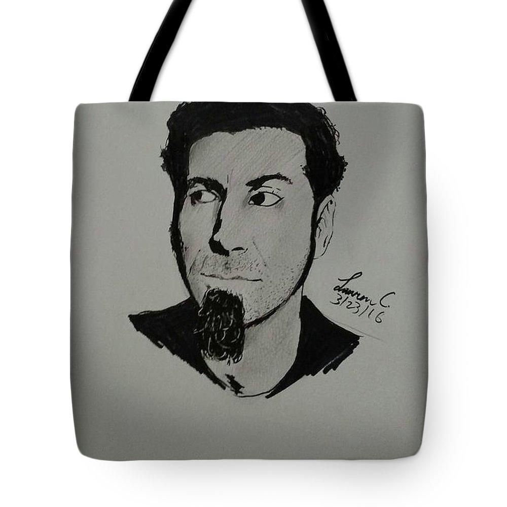 Serj Tote Bag featuring the drawing Serj Tankian by Lauren Champion