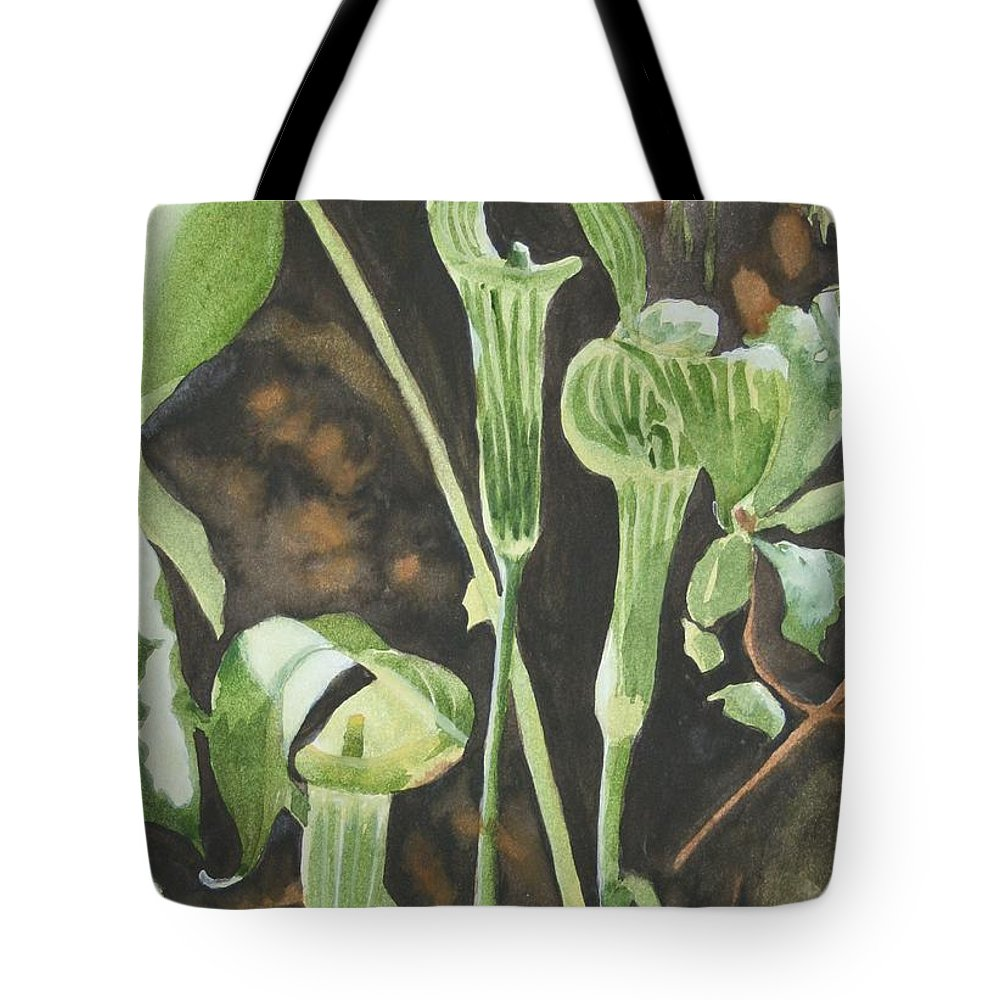 Woods Tote Bag featuring the painting Sermon In The Woods by Jean Blackmer