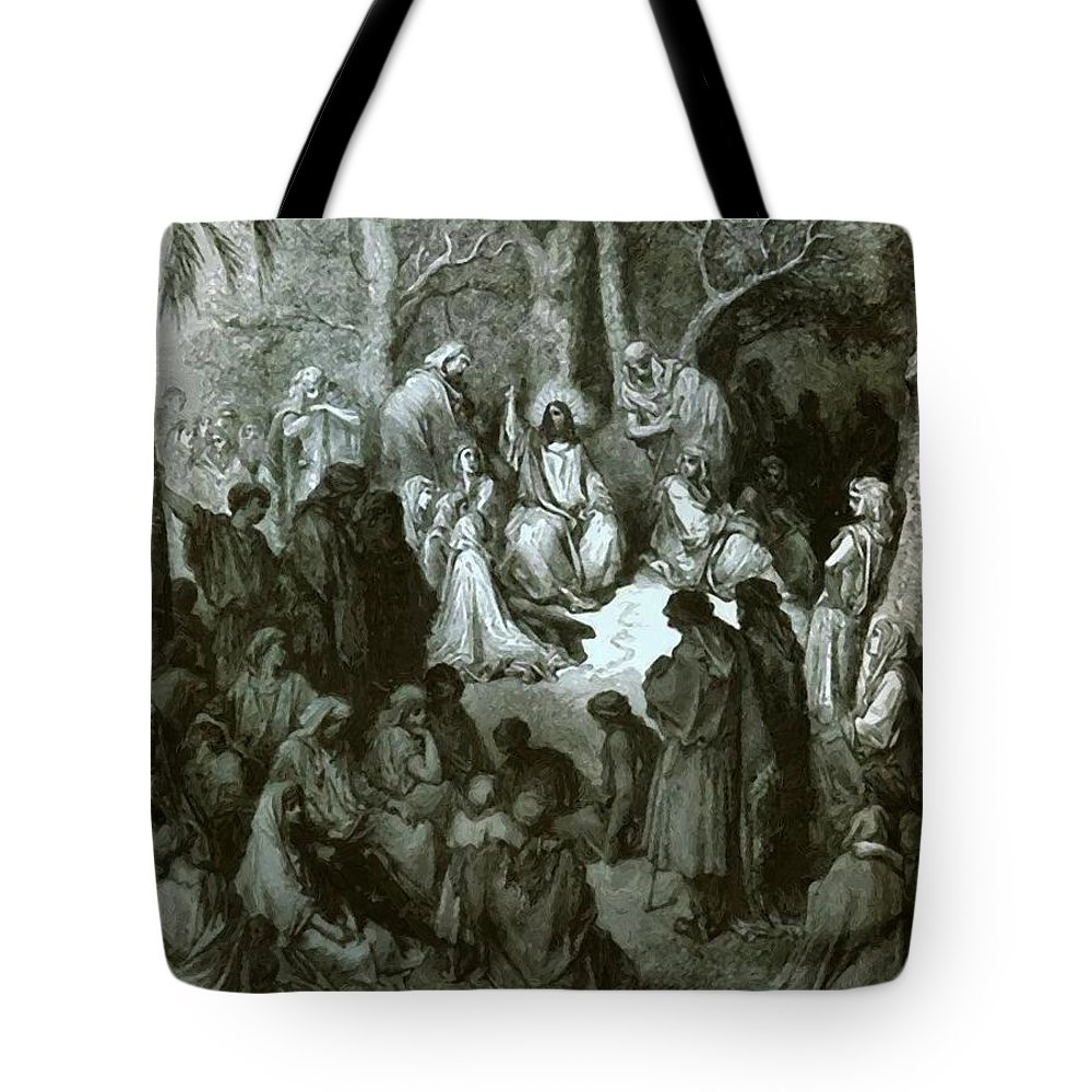 Sermon Tote Bag featuring the painting Sermon On The Mount by Dore Gustave