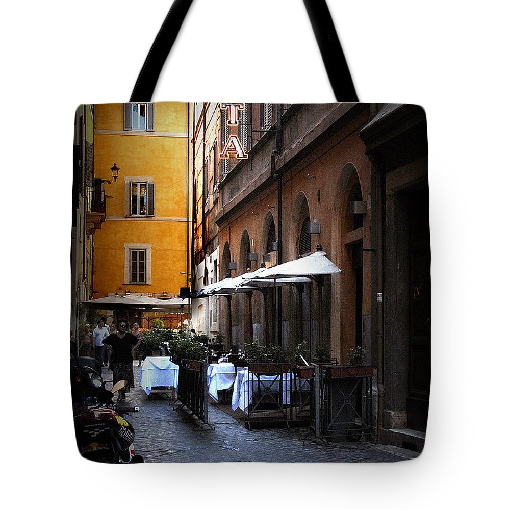 Travel Tote Bag featuring the photograph Setta Alley And Motorcycle by James Zuffoletto