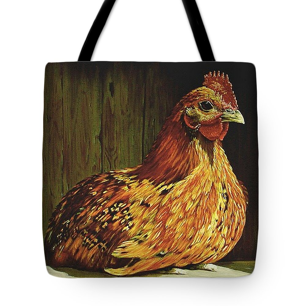 Acrylic Tote Bag featuring the painting Setting Hen by Sheryl Gallant
