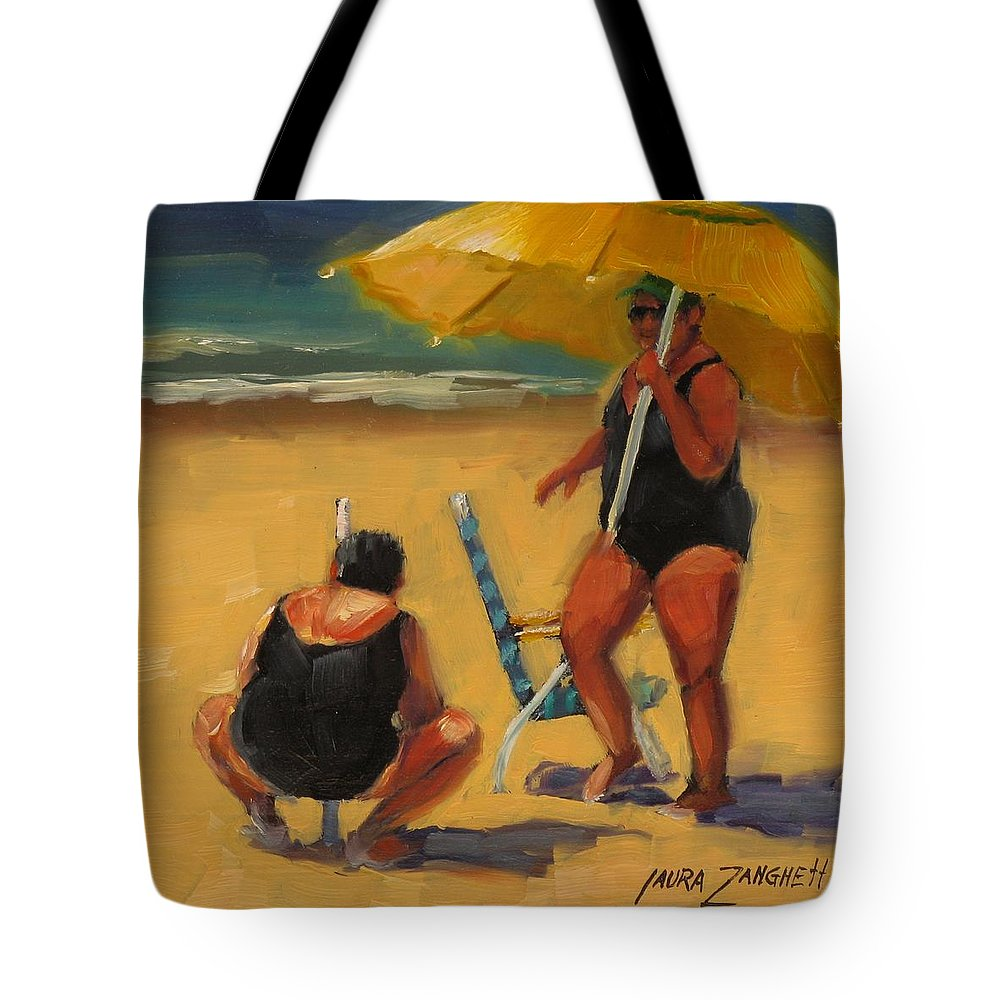Beach Tote Bag featuring the painting Setting Up by Laura Lee Zanghetti