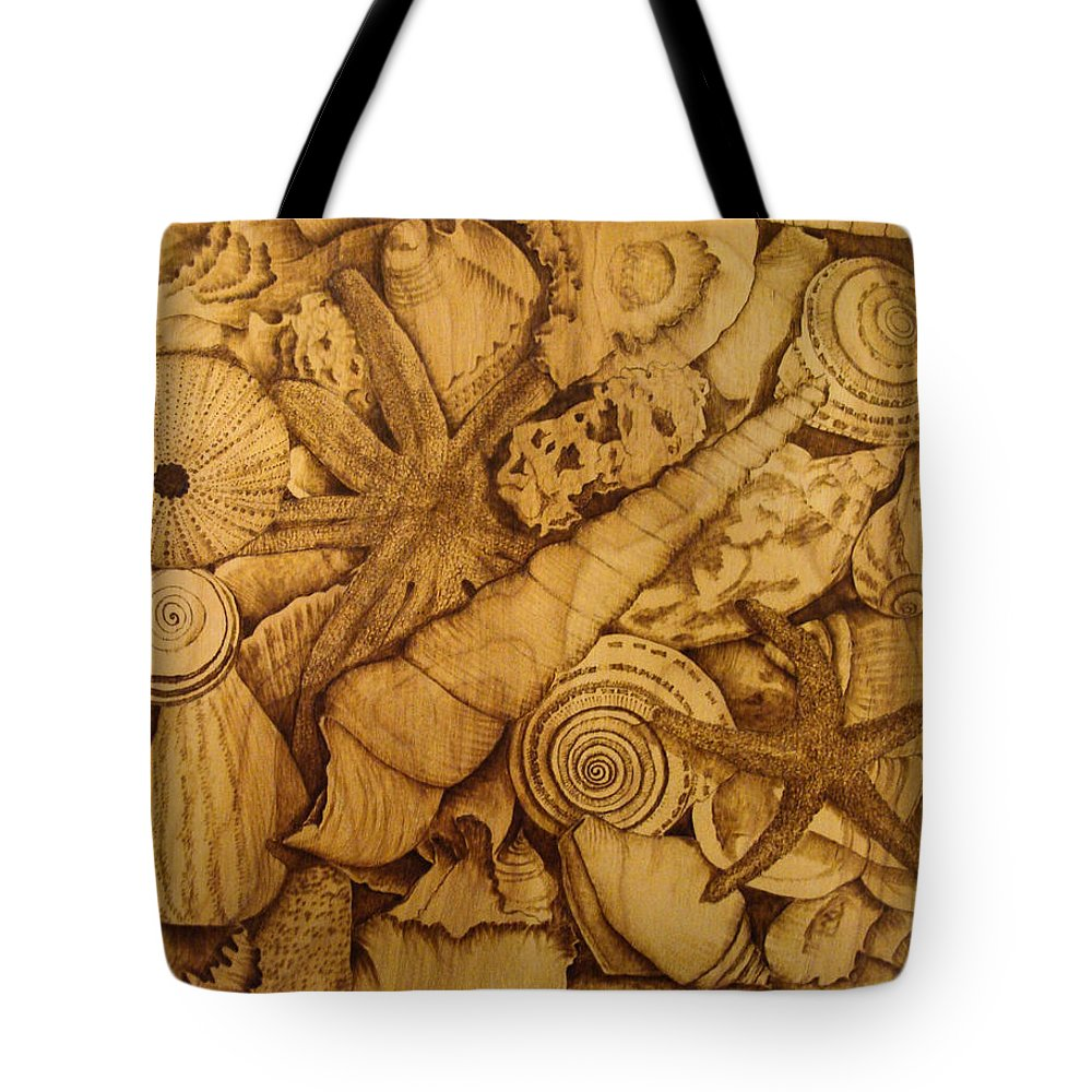 Pyrography; Sepia; Shells; Sea Shells; Starfish; Ocean; Sea; Underwater; Sea Life; Tote Bag featuring the pyrography Settled by Jo Schwartz