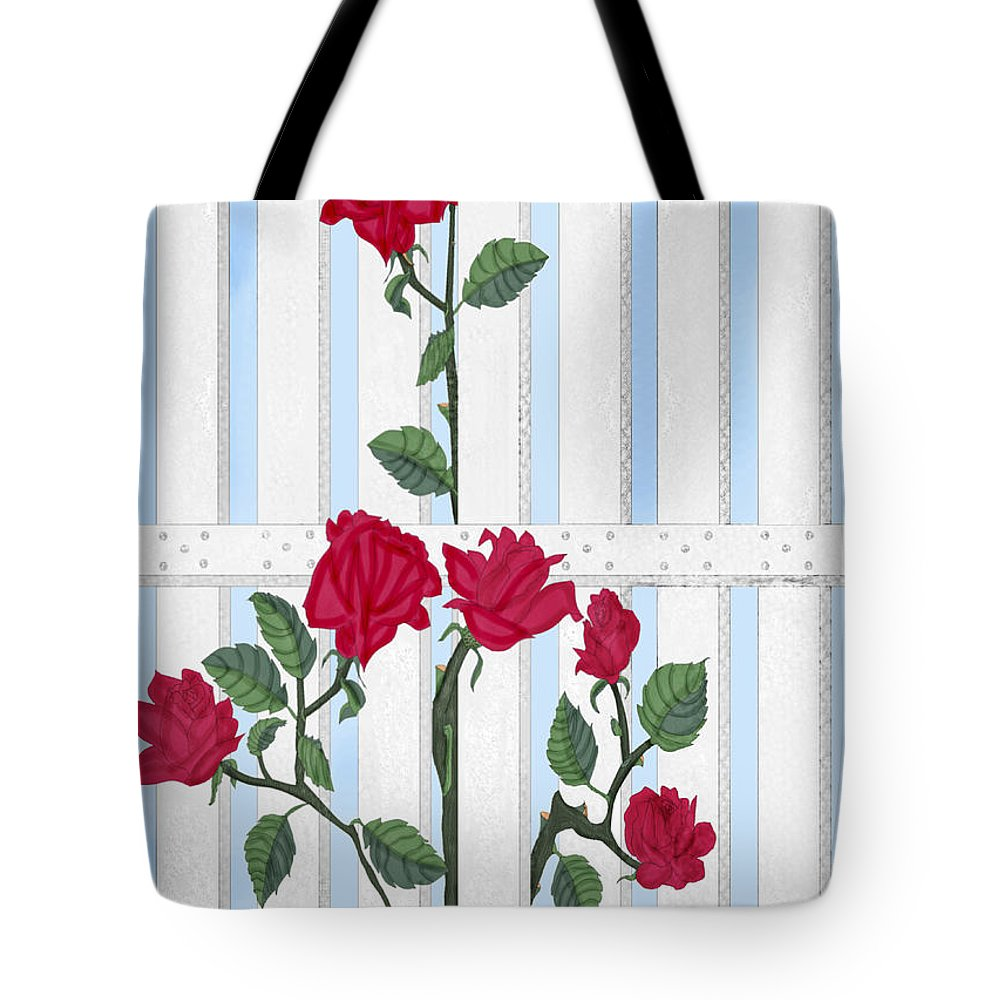 Roses Tote Bag featuring the painting Seven Roses For Mary by Anne Norskog