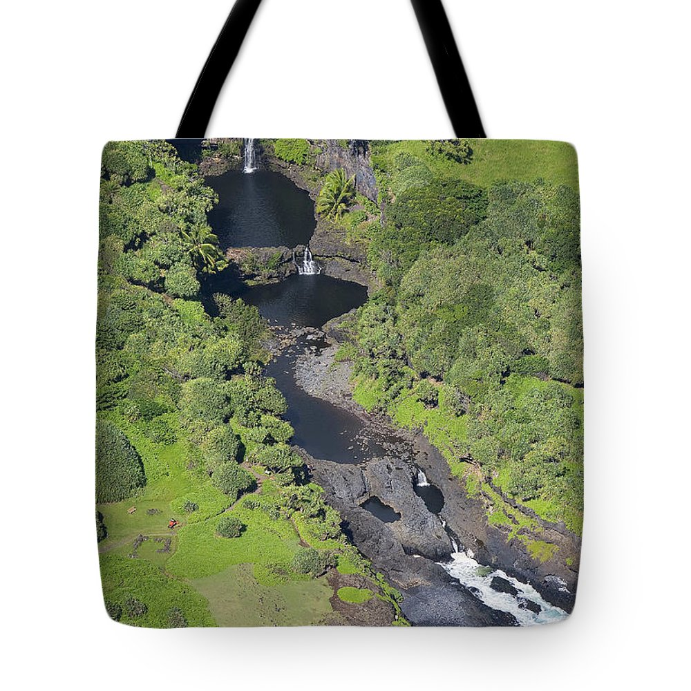 Aerial Tote Bag featuring the photograph Seven Sacred Pools by Ron Dahlquist - Printscapes