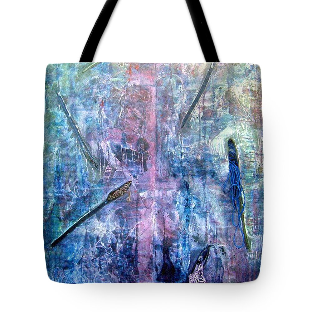 Abstract Tote Bag featuring the painting Seven Zippers by Nancy Mueller
