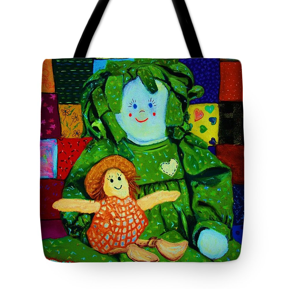 Dolls Tote Bag featuring the print Sew Sweet by Melinda Etzold