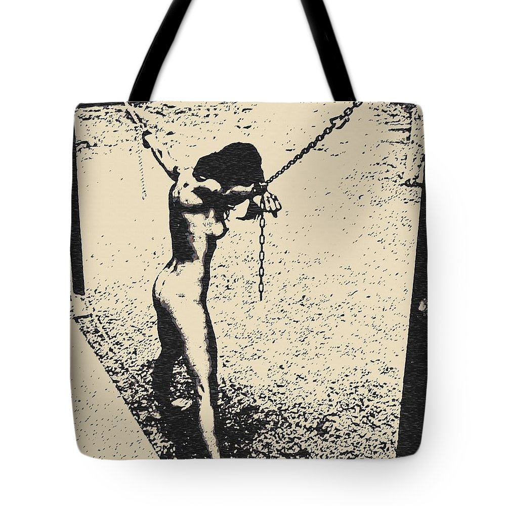 Tote bag drawing - Beautiful Girl Tote Bag Featuring The Drawing Sex And Submission Punishment By Casemiro