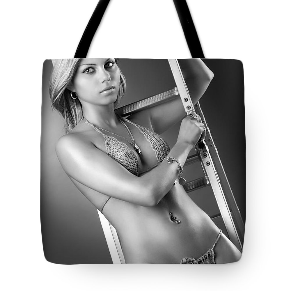 Woman Tote Bag featuring the photograph Sexy Red-haired Woman In Bikini by Oleksiy Maksymenko