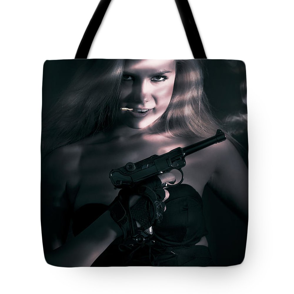 Assassin Tote Bag featuring the photograph Sexy Woman Assassin by Jorgo Photography - Wall Art Gallery