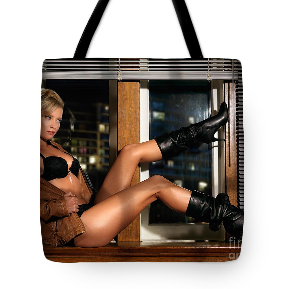 Glamour Tote Bag featuring the photograph Sexy Woman In Lingerie Sitting On A Window Sill by Oleksiy Maksymenko