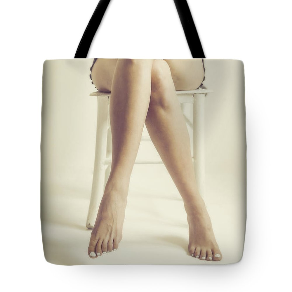 Naked Tote Bag Featuring The Photograph Sexy Woman Legs By Desislava Panteva