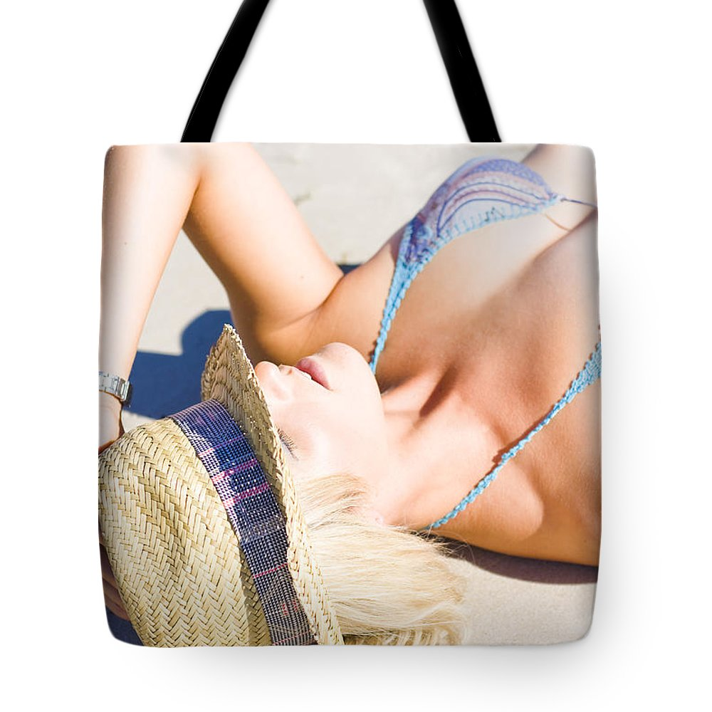 Adults Only Tote Bag featuring the photograph Sexy Woman On Sand by Jorgo Photography - Wall Art Gallery