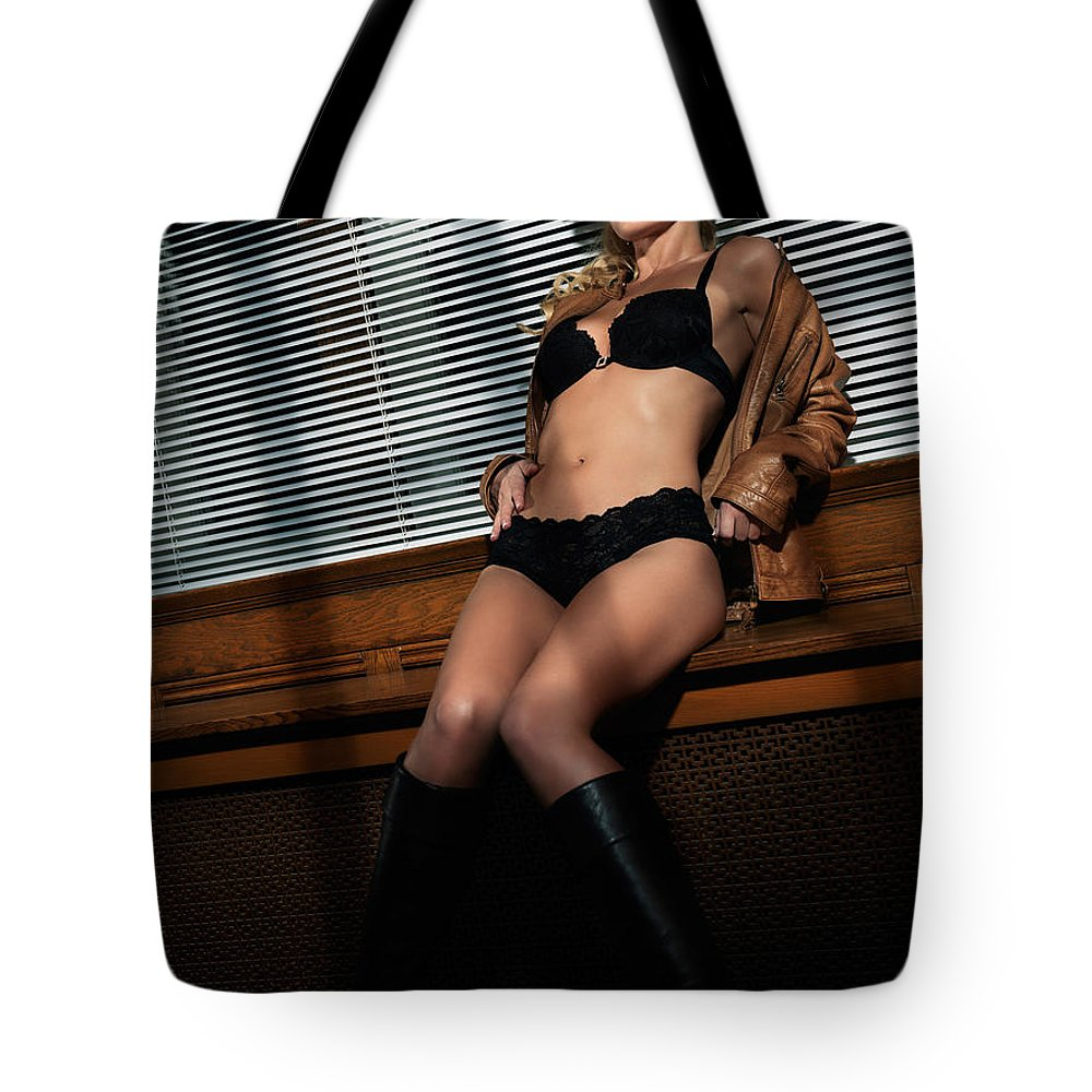 Glamour Tote Bag featuring the photograph Sexy Young Woman In Lingerie by Oleksiy Maksymenko