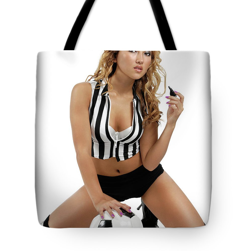 Soccer Tote Bag featuring the photograph Sexy Young Woman With A Soccer Ball by Oleksiy Maksymenko
