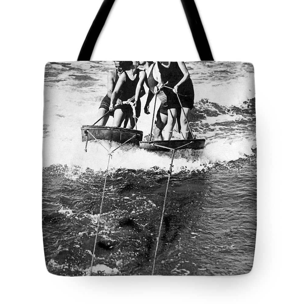 1920s Tote Bag featuring the photograph Sf Aquaplane Lovers by Underwood Archives
