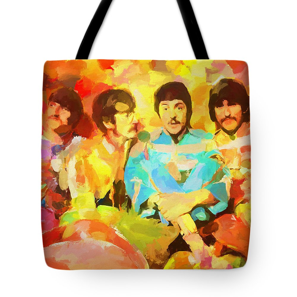 Sgt. Peppers Lonely Hearts Tote Bag featuring the painting Sgt. Peppers Lonely Hearts by Dan Sproul