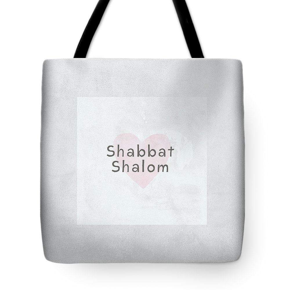 Heart Tote Bag featuring the mixed media Shabbat Shalom Soft Heart- Art By Linda Woods by Linda Woods