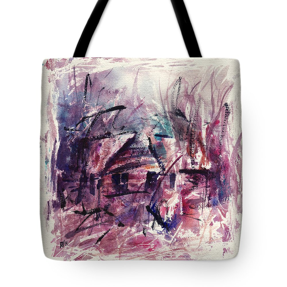 Shack Tote Bag featuring the painting Shack First Movement by Rachel Christine Nowicki