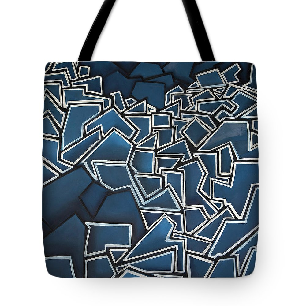 Abstract Tote Bag featuring the painting Shadderd Space by Thomas Valentine