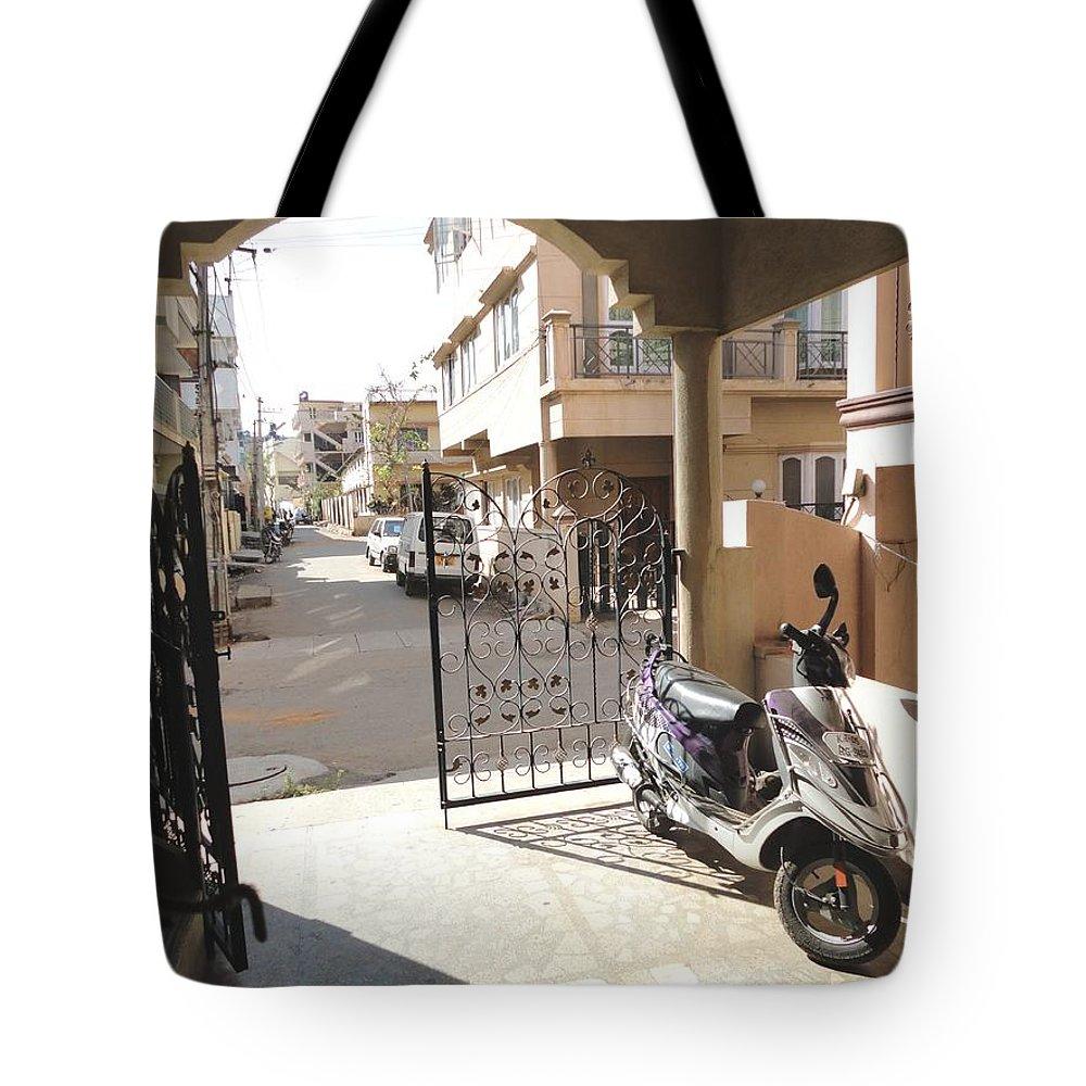 Shade Tote Bag featuring the photograph Shade And Shadows by Usha Shantharam