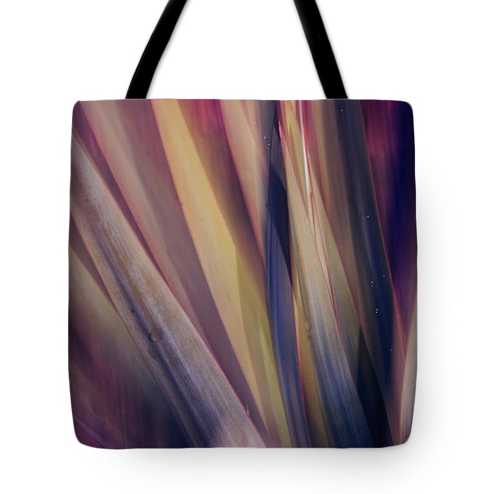 Plant Abstract Nature Blur Colors Pink Blue Yellow Geen Tote Bag featuring the photograph Shade Of Color by Linda Sannuti