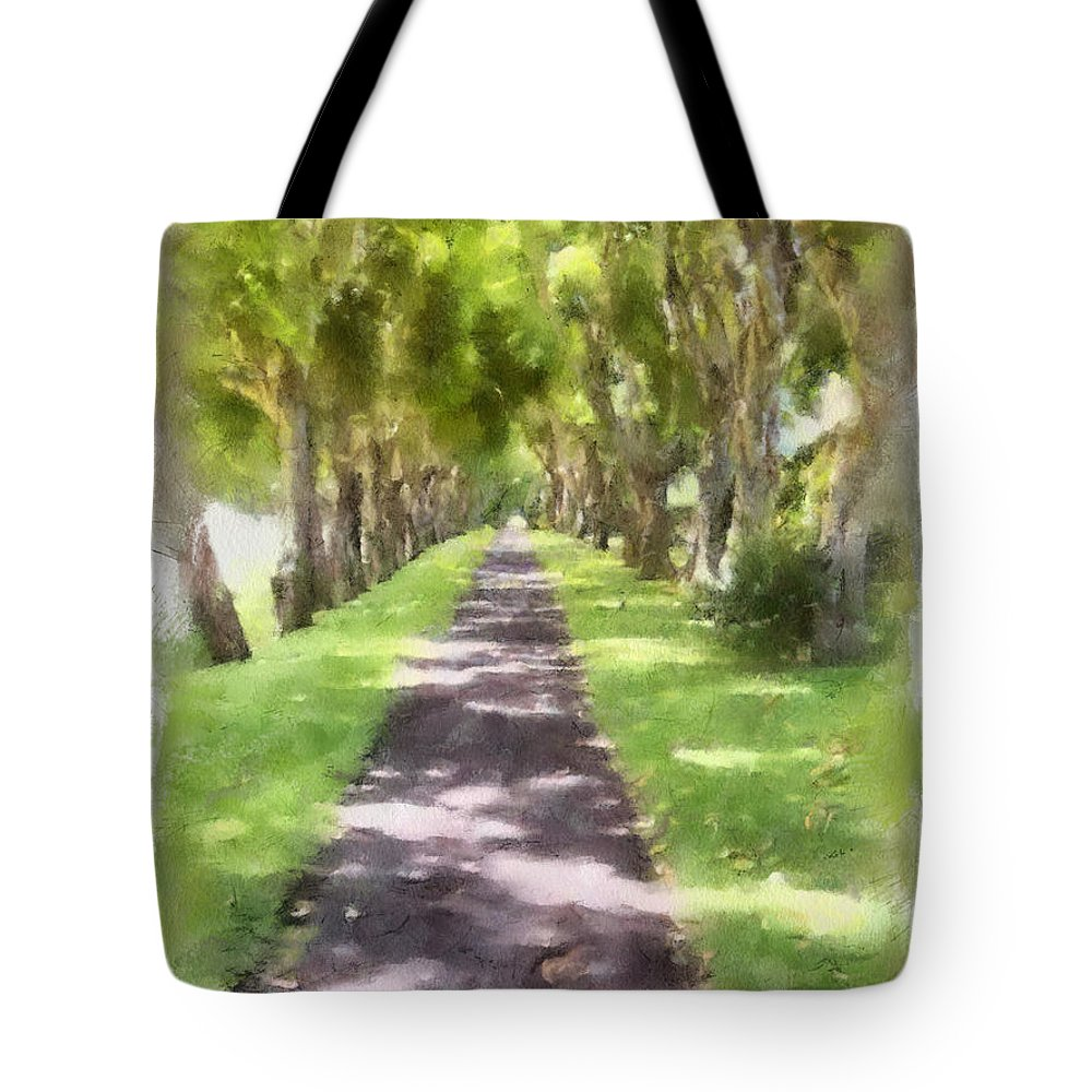 Kauai Tote Bag featuring the painting Shaded Walkway To Princeville Market by Paulette B Wright