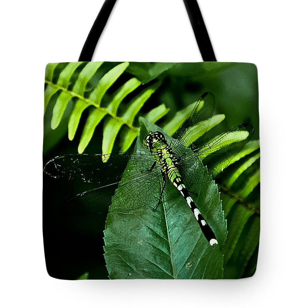 Dragonfly Tote Bag featuring the digital art Shades Of Green by DigiArt Diaries by Vicky B Fuller