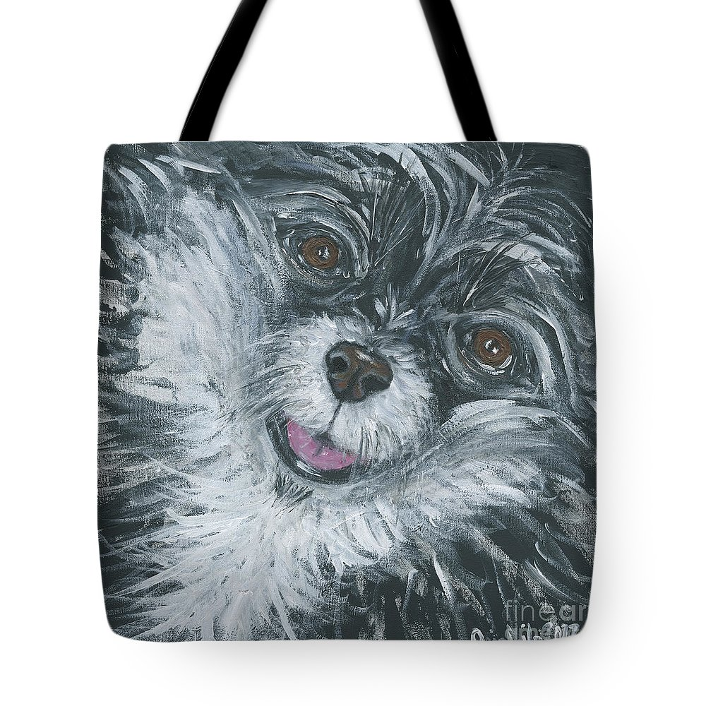 Dog Portrait Tote Bag featuring the painting Shadow Closeup by Ania M Milo