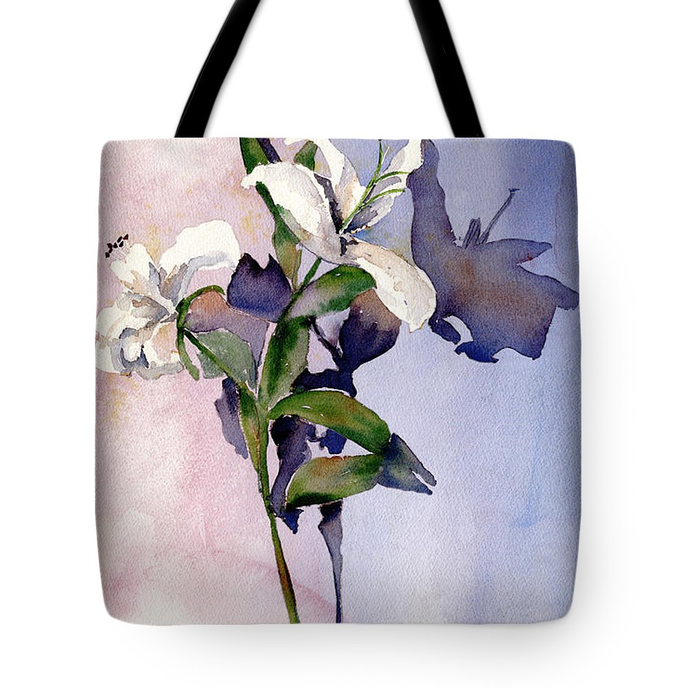 Lillies Tote Bag featuring the painting Shadow Lilies by Arline Wagner