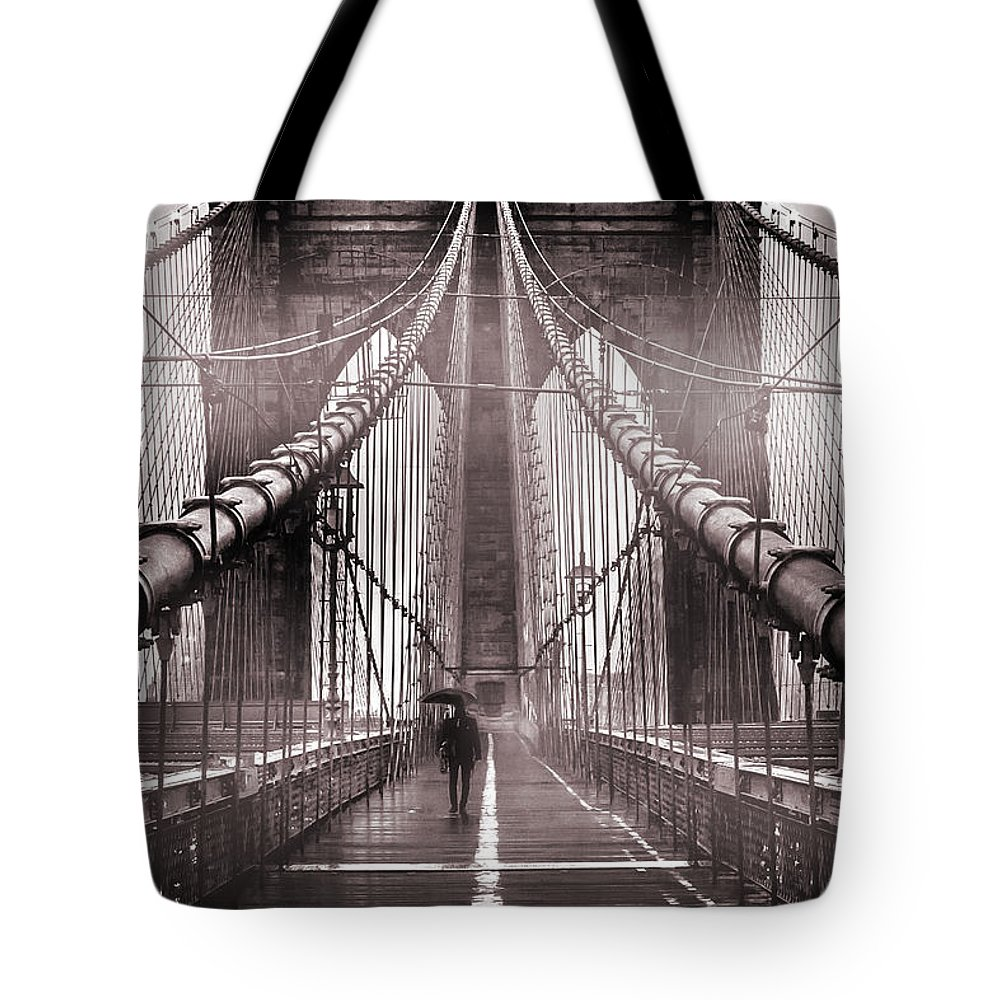 Brooklyn Bridge Tote Bag featuring the photograph Shadow Man by Az Jackson