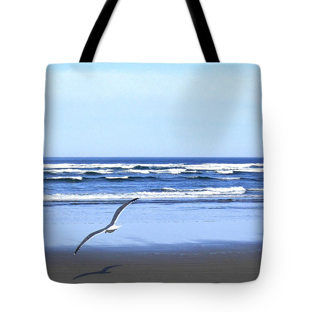 Seagull Tote Bag featuring the photograph Shadow On The Sand by Will Borden