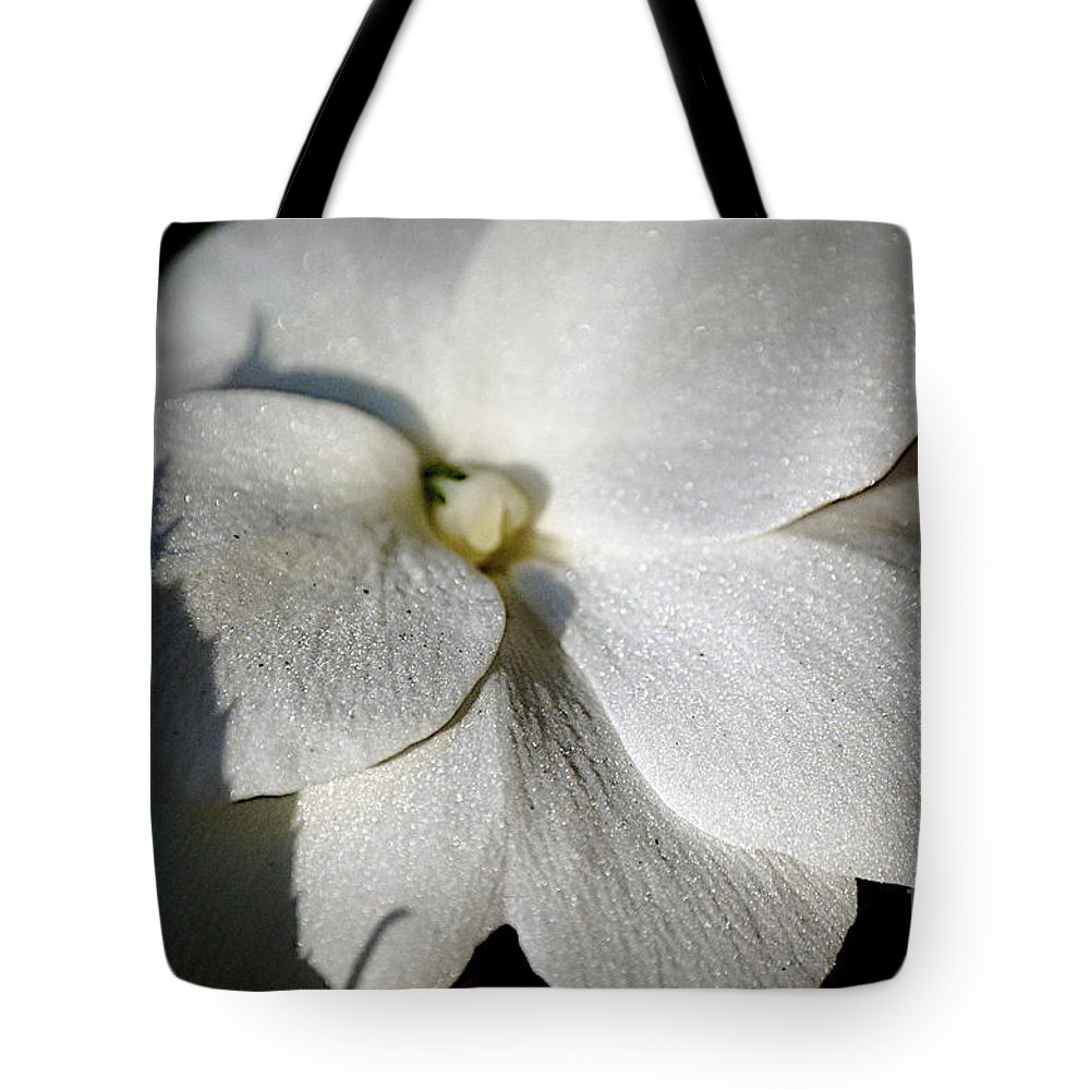 Impatiens Tote Bag featuring the photograph Shadow On White by Faith Harron Boudreau