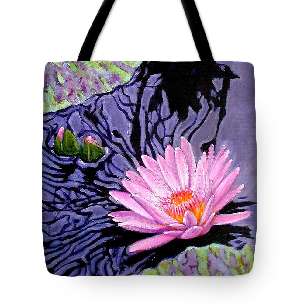 Water Lily Tote Bag featuring the painting Shadow Reflections by John Lautermilch