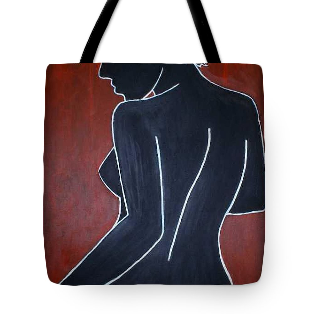 Nude Tote Bag featuring the painting Shadow by Thomas Valentine