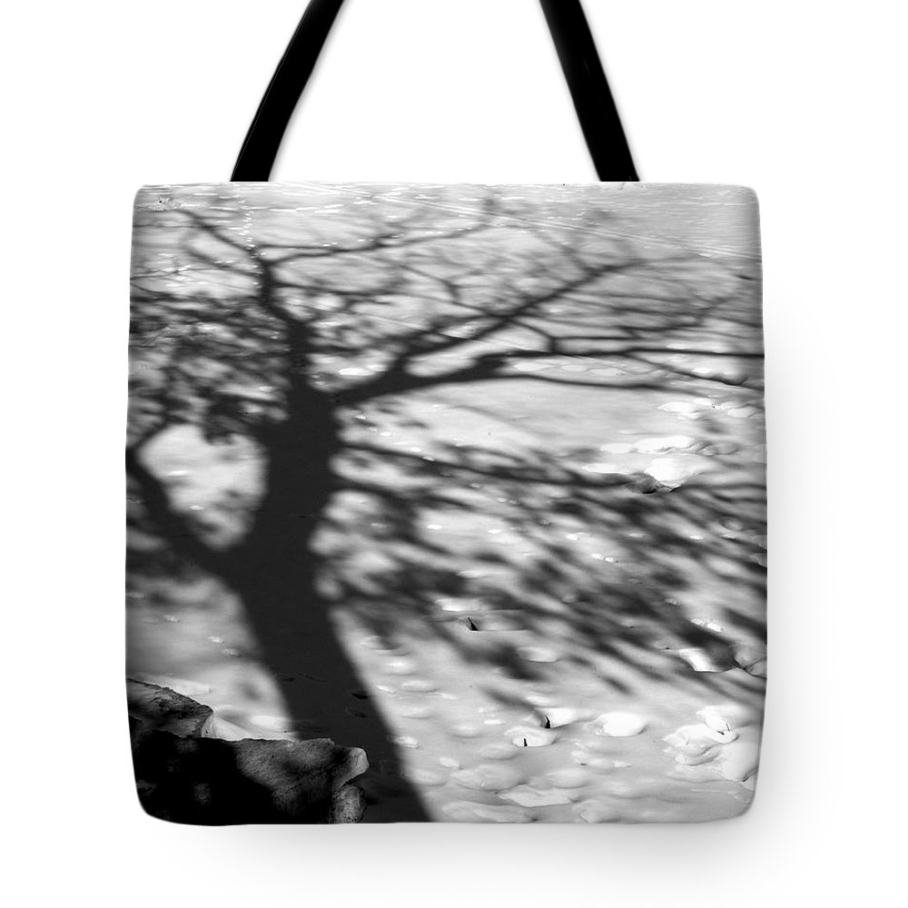 Shadow Tote Bag featuring the photograph Shadow Tree Herrick Lake Naperville Illinois by Michael Bessler