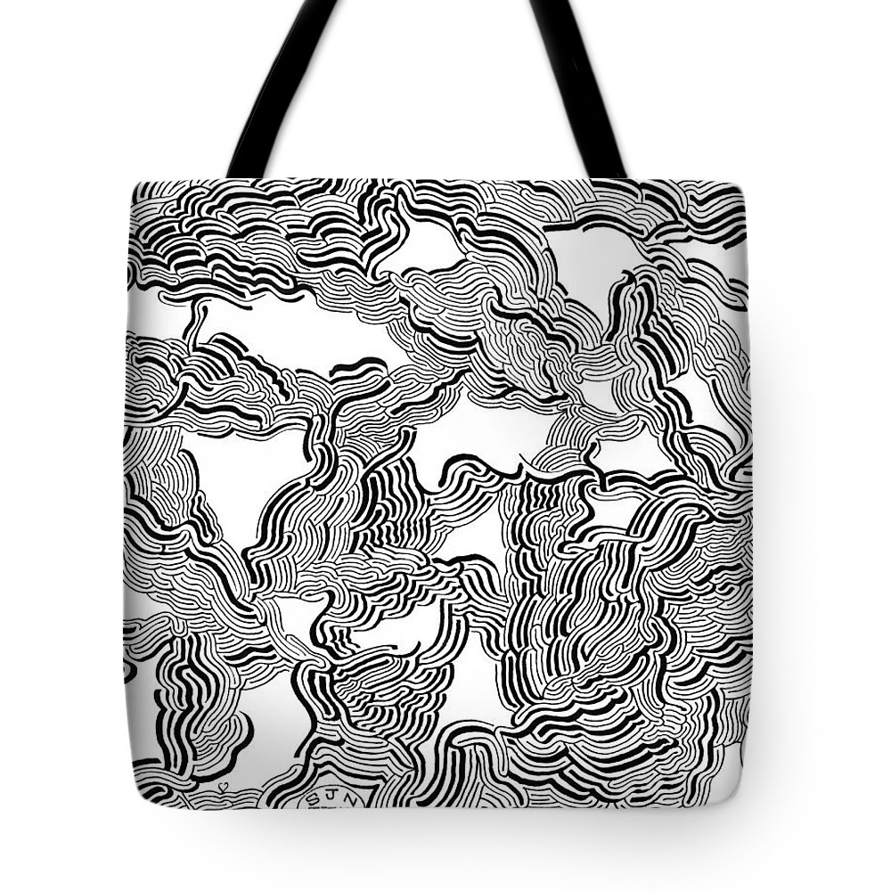 Mazes Tote Bag featuring the drawing Shadow Vision 1 by Steven Natanson