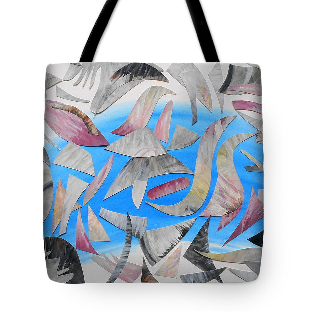 Collage Mixed Media Watercolor Abstract Expressionist Expressionism Painting Paintings Gouache Blue Grey Dance Active Motion Shadows Shadow Tote Bag featuring the painting Shadowdance by Laura Joan Levine
